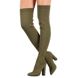 Shoes - Madame Olive Knit Fitted Thigh High Boot